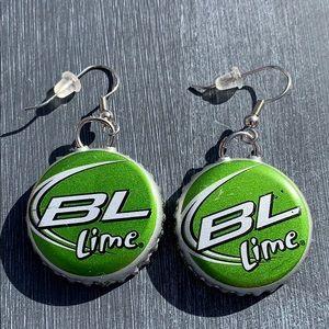 Pair of Bud light lime beer cap earrings